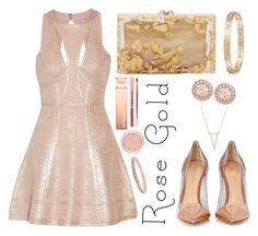 """Rose Gold"" by juliaalexsa ❤ liked on Polyvore featuring Gianvito Rossi, Hervé Léger, Charlotte Olympia, Cartier, Gemma Crus, Givenchy, Stila and Henri Bendel"