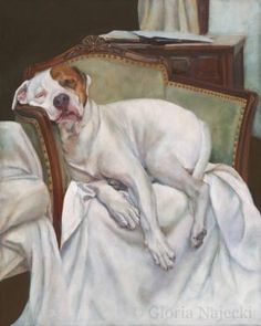 Why my dog felt it necessary to crawl into this chair, which was clearly too small for him, I'll never know. Maybe he just knew it would make a good painting.