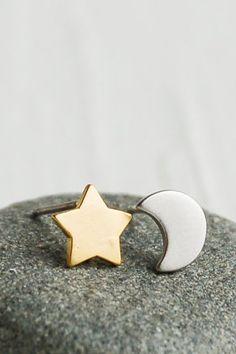 Star Moon Earrings Silver MOON Gold STAR
