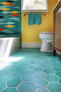 Mid Century fun - Cape Cod Beach Bath - Pratt & Larson Hall Bathroom, Bathrooms, Cape Cod Beaches, Beach Bath, Kids Bath, Tile Floor, Tiles, Farmhouse, Home Decor