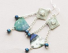 Blue Green Bohemian Earrings with Cobalt Blue by MusingTreeStudios