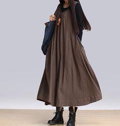 women maxi dress linen dress sundress autumn dress by customsize Mori Girl Fashion, Plus Size Maxi, Clothing Hacks, Linen Dresses, Fashion Fall, Girl Style, Jumpers, Slacks, Dress Skirt