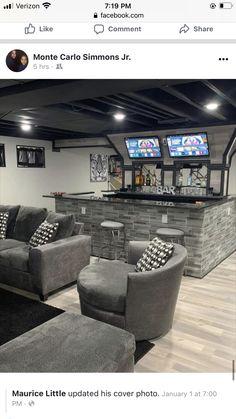 Basement Movie Room, Basement Living Rooms, Basement House Plans, Basement Kitchen, Home Bar Rooms, Diy Home Bar, Home Theater Rooms, Bars For Home, Basement Bar Designs