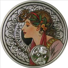 Sagittarius silver coin, with the art of Alfons Mucha