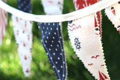 Accessorize this 4th of July with these beautiful handmade bunting banners! Each banner is handmade with ten flags that are double sided with the finest linen fabrics! They are perfect for 4th of July