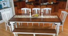 Dining room tables farmhouse style with white painted chairs and bench | Decolover.net