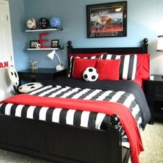 Soccer inspired room️️#boy #boysroom #soccer #red #black #decor #design #homedecor #homedesign #kids #kidsdecor #kidsspace #kidsdesign #kidinspirations #igdaily #instahub #instakids #instamoms #instadaily #instadecor #instateens #instadesign #inspirations #interiordesign #picoftheday... - Home Decor For Kids And Interior Design Ideas for Children, Toddler Room Ideas For Boys And Girls