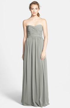 ML Monique Lhuillier Bridesmaids Strapless Ruched Chiffon Sweetheart Gown (Nordstrom Exclusive) | Nordstrom