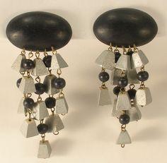 Wooden Very Long Silver & Black Dangle Clip On Earrings Light Weight