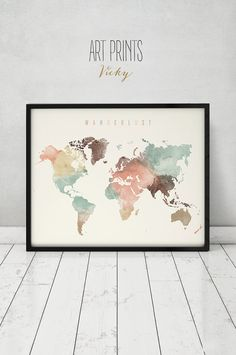 Wanderlust, World map watercolor print, world map poster, travel map watercolor, typography art, digital watercolor print, ArtPrintsVicky More