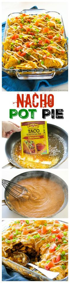 Nacho Pot Pie - a taco flavored filling of black beans and corn topped with a crushed tortilla chip crust. the-girl-who-ate-everything.com