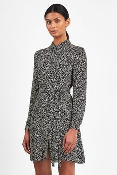 Slay the look with this minimalist style of Whistles black autumn floral shirt dress. Floral Shirt Dress, Minimalist Fashion, Minimalist Style, Fashion Night, Next Uk, Uk Online, Whistles, Night Style, Leather Jacket