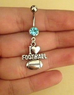 I love football belly button ring