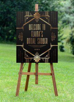 PRINTABLE Art Deco Bridal Shower Sign // Large Bridal by Foxbairn