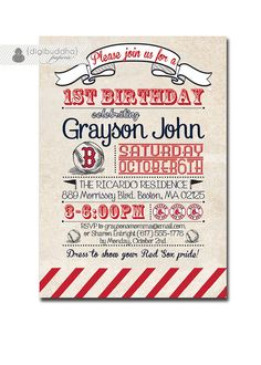 Red Sox Birthday Invitation 1st Birthday Baseball Invitation Vintage Retro 18th 21st  Boy Girl DIY Printable or Printed - Diana Style