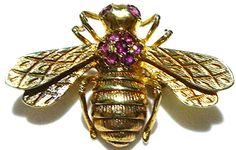 14K GOLD INSECT BUG BEE NATURAL RUBY SMALL ORNATE BROOCH PIN 1""