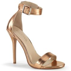 Amuse 10 is a striking design sure to attract attention. This heeled closed back sandal features a buckled ankle strap. Rose Gold Metallic, Metallic Heels, Sexy Heels, Stiletto Heels, High Heels, Open Toe Sandals, Strap Sandals, Plateau Pumps, Boot Cuffs