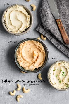 Making your own homemade cultured cashew cream cheese is super easy! It's the perfect vegan substitute for cream cheese and delicious on toast and bagels! Cashew Cream Cheese Recipe, Vegan Cheese Recipes, Vegan Cream Cheese, Vegan Sauces, Cream Cheese Recipes, Milk Recipes, Delicious Vegan Recipes, Vegan Foods, Whole Food Recipes