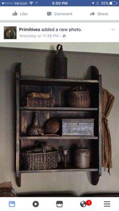 Early shelf with favorite old leather books and painted baskets Primitive Shelves, Primitive Homes, Primitive Antiques, Country Primitive, Primitive Decor, Primitive Living Room, Primitive Furniture, Antique Furniture, Prim Decor