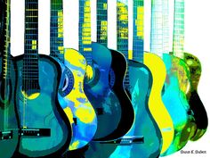 Blue n Yellow Guitars POP Art Giclee Print by GrayWolfGallery
