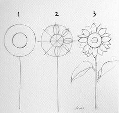 Easy Flower Drawings, Flower Drawing Tutorials, Easy Drawings, Art Tutorials, Drawing Flowers, Painting Flowers, Sunflower Sketches, Sunflower Drawing, Art Drawings Sketches