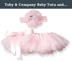 Toby & Company Baby Tutu and Princess Tiara Headband 2 Piece Set, Light Pink, Newborn Infant Blended. 2 piece tiara and tulle on soft elastic headband with matching satin ribbon tie on tulle tutu.