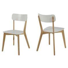 Eetkamerstoel Aalborg - hout - wit/eiken (2 stuks)
