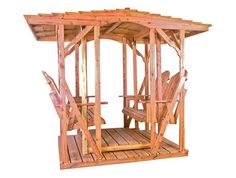 The Double Canopy Glider: -Aromatic Red Cedar -Amish Construction -Customizable Backyard Plan, Backyard Ideas, Outdoor Chairs, Outdoor Furniture, Outdoor Spaces, Furniture Gliders, Northern White Cedar, Traditional Benches
