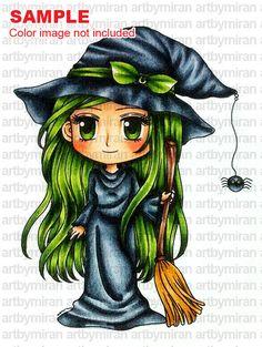 Digital Stamp - Witch Hazel(#244), Digi Stamp, Coloring page, Printable Line art for Card and Craft Supply