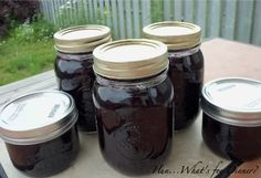 Blueberry rhubarb jam - no pectin!  8 c. blueberries, 4 c. rhubarb, 4 c. sugar, lemon, and water.