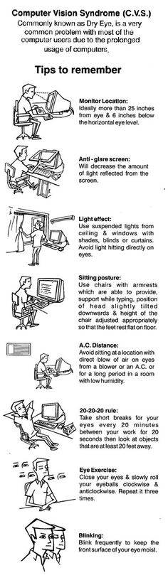 Helpful tips for reducing your risk of Computer Vision Syndrome.