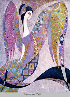 (Oil Canvas) Klimt - like patterns &… Action Painting, Art And Illustration, Art Fantaisiste, Oil Canvas, Angel Artwork, Arte Pop, Art Moderne, Klimt, Silk Painting