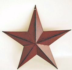 "Antiqued Burgundy Country Tin Wall Star 12"" by JMI. $19.99. Painted tin - burgundy with black accents. Aged look. Measures 12"" with hole at top for hanging. Tin Wall Star"