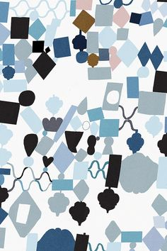 Klara Persson, abstract pattern, blue, colour, random, paper cut