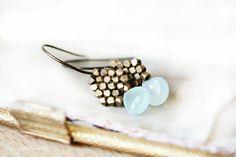 Modern Brass Jewelry / Pastel Fashion Aqua by CaprichosaJewelry, $48.00