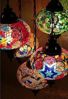 Turkish Handmade 5 BALLS Moroccan Mosaic Hanging Lamp Lantern Chandelier Light