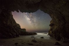 Malibu Sea Cave view of the Milky Way. Malibu, CA Night Photography, Landscape Photography, Space Photography, Cosmos, Leo Carrillo State Park, Cave Images, Night Sky Photos, Sea Cave, Astronomy Pictures