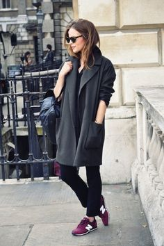 weekend attire: grey coat + sneakers