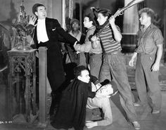 """""""Spooks Run Wild"""" - Starring: Bela Lugosi & The East Side Kids - Leo Gorcey is third from the left, standing - Huntz Hall, is on the ground, with hat flipped up. - The East Side Kids would later become The Bowery Boys. Halloween Pictures, Halloween Fun, Leo Gorcey, Dracula Cape, The Bowery Boys, Hattie Mcdaniel, Greatest Villains, Kevin Gates, Horror Pictures"""