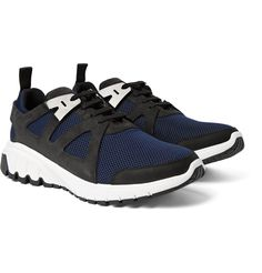 <a href='http://www.mrporter.com/mens/Designers/Neil_Barrett'>Neil Barrett</a> is best known for giving sportswear the 'luxury treatment'. These breathable 'Molecular Runner' sneakers are made from navy mesh and detailed with nubuck trims and polished-chrome accents. Wear them with tailored sweatpants to the gym or with slim trousers at the weekend.