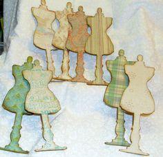 Eight 6.25 Inch Chipboard Dressform Embellishments #Handmade