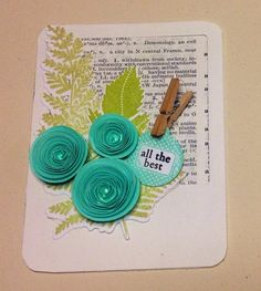 Project Life card insert using vintage book plate, handmade spiral flowers, some stamped leaves and tiny clothes pin!