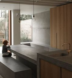 Love the sink/tap and built in kitchen table-bench and seats. McLaren Excell adds a weathered-steel and concrete extension to a London house Kitchen Interior, Home Interior Design, Interior Architecture, Exterior Design, Futuristic Architecture, Concrete Kitchen, Concrete Houses, Concrete Floor, Küchen Design