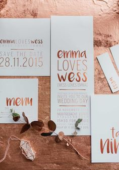 Romantic Copper Metallic & Blush Wedding Ideas: The stunning copper metallic brush-lettered wedding stationery suite was created by the ever talented Pretty in Stains. Wedding Paper, Wedding Cards, Our Wedding, Spring Wedding, Wedding Gifts, Wedding Venues, Wedding Dress, Wedding Simple, Wedding Programs