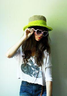 e207ad1c0a25b summer straw hat. organic hemp and neon organic cotton. flexible wire brim.  one size. in stock.  60.00
