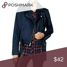 Wildflower blue faux suede Moto Jacket Trending moto jacket by Wildflower in a navy blue faux suede with asymetrical styling and zipper with low belt trim  Retail $119  more brand new designer clothes at 30-70% off retail: www.thecuratedcloset.net and use code POSH20 for 20% off Wildflower Jackets & Coats