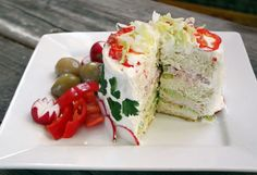 avocado,bacon club sandwich cake! Interesting!!