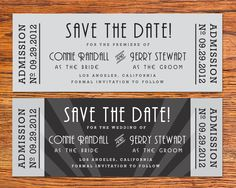DIY Old Hollywood Movie Ticket Save the Date Card. $15.00, via Etsy.
