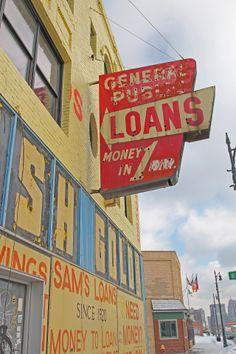 General Public Loans sign in the Corktown neighborhood of Detroit, MI