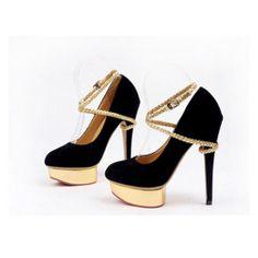 Zapatos Gamuzados Plataforma Dorada Con Hebilla Griega que Rodea el Tobillo